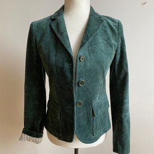 Theory green corduroy jacket blazer sz 4 buttons